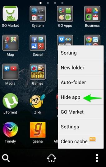 nascondere le applicazioni su android con go launcher