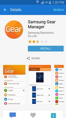 come installare il samsung gear manager dal mercato