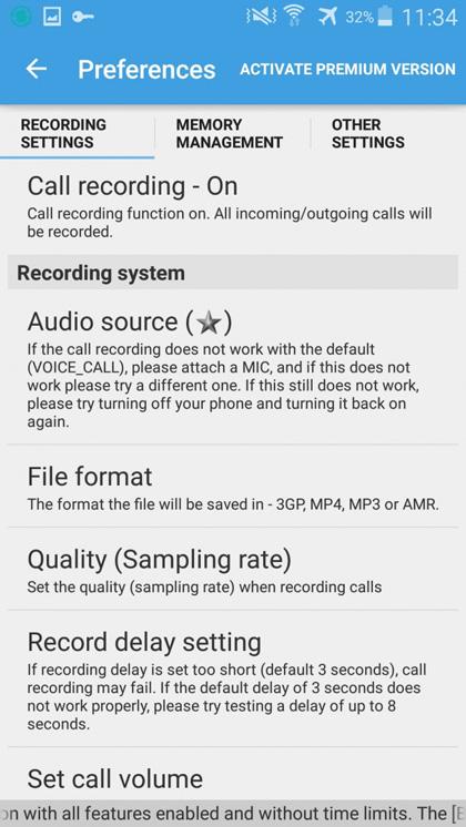 note sull uso del registratore di telefonate