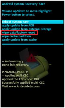 bypassare il blocco d android lock con le impostazioni di fabbrica
