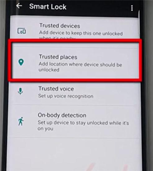 attivare il blocco schermo intelligente smart lockl per android tramite una posizione attendibile
