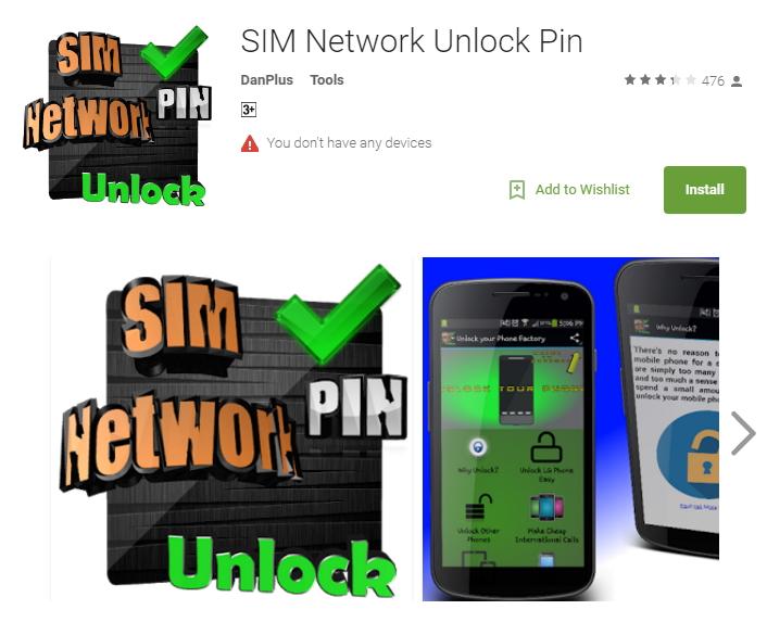 sim network unlock pin di danplus
