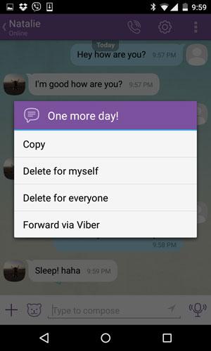 come cancellare messaggi viber