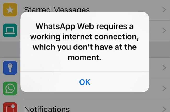 impossibile connettersi a whatsapp