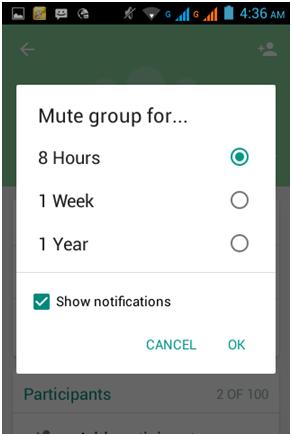silenziare un gruppo di whatsapp