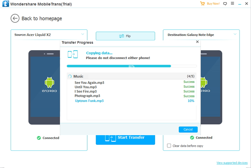How to transfer data from Acer device to other Android devices?