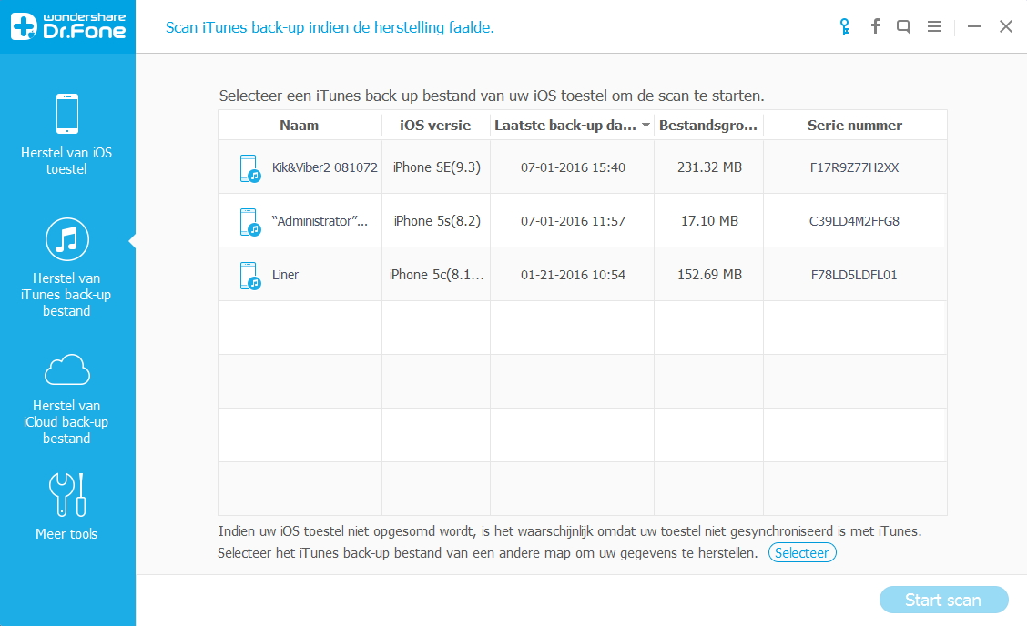Herstel iphone data na herstellen naar bedrijfs settings