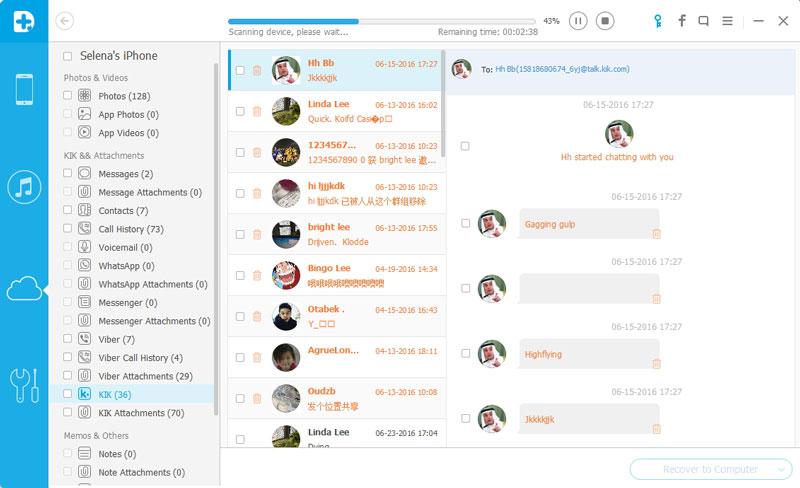 herstel Kik berichten van iCloud Backup