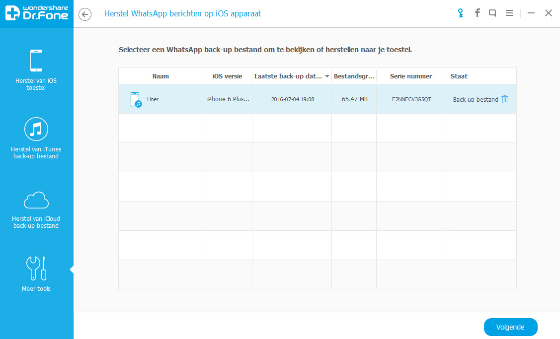 vide previous whatsapp backup file