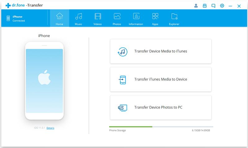 transfer iphone media naar itunes - verbind je Apple apparaat
