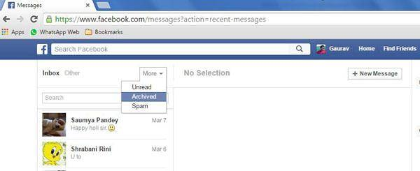 select archived to display facebook message