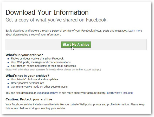 start download archive to recover facebook messages