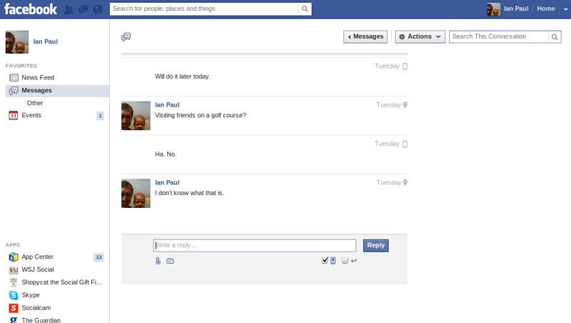 open facebook message
