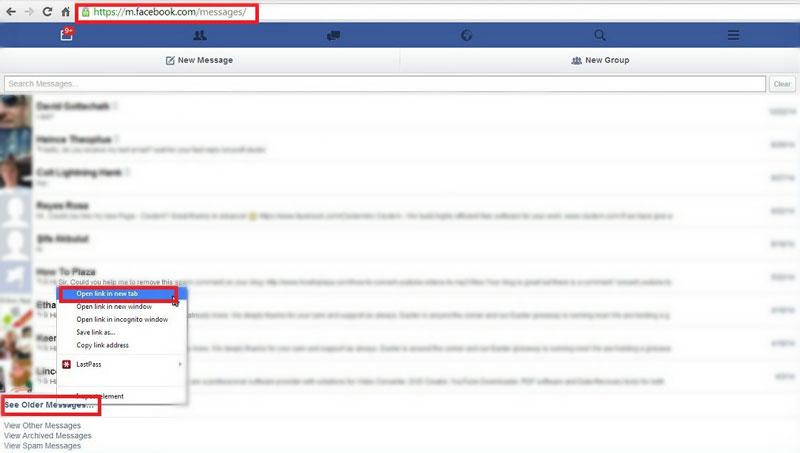 find old facebook message