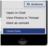 unarchive delete facebook message