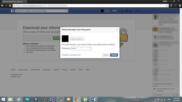 enter facebook password