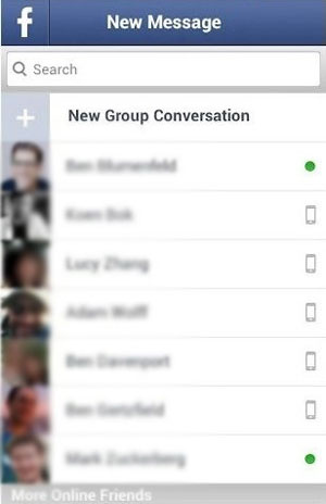 select friend to send facebook message
