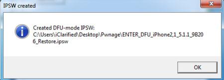 confirm DFU mode IPSW