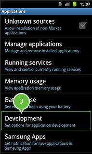 android versie 2.0 en 2.3 schakel usb debuggen in