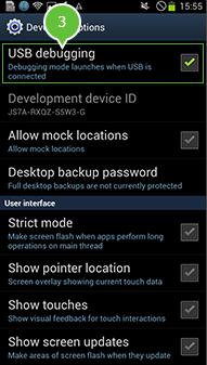 android versie 3.0 en 4.0 schakel usb debuggen in