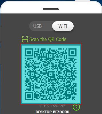 verbind de mirrorgo app met pc via wifi