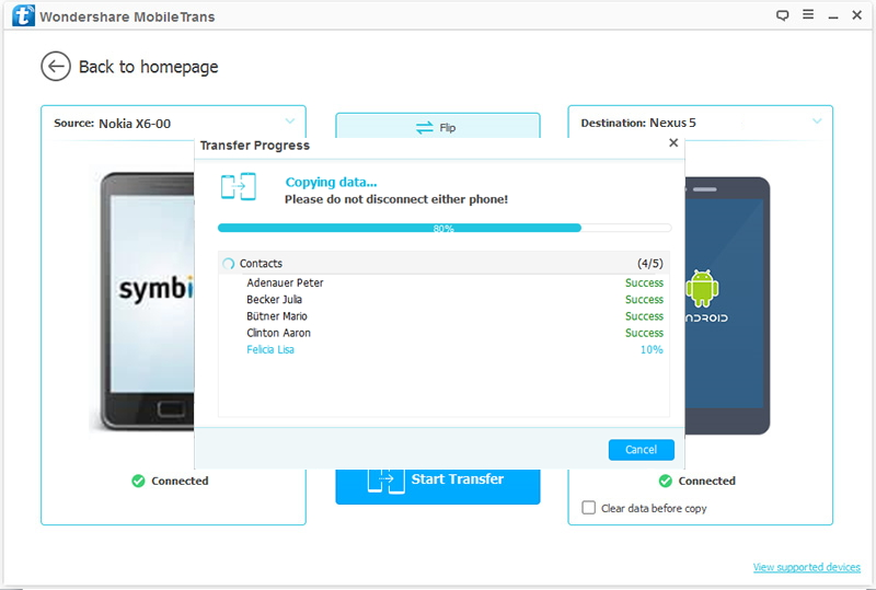 transfer contacts from Nokia to Nexus 5 completed