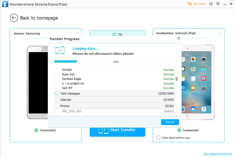 transfer data from Samsung to iPad