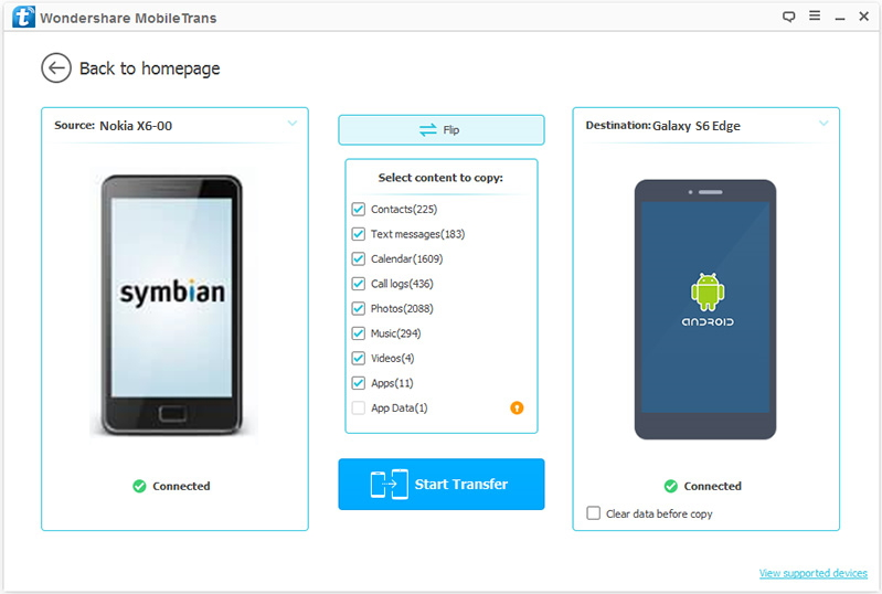 connect devices to transfer from Symbian to Android