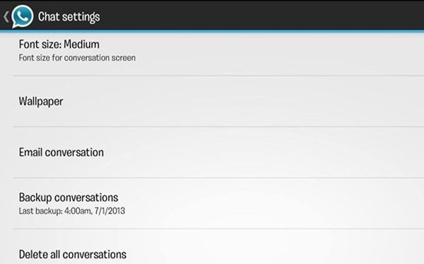 whatsapp settings for customization