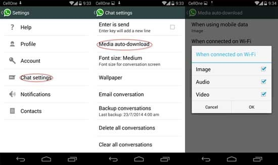 whatsapp tricks and tips-Disable Automatic Download