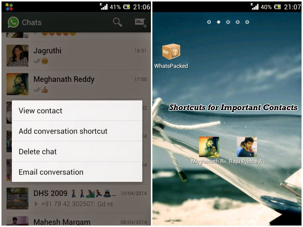 whatsapp tricks and tips-Shortcuts for Important Contacts