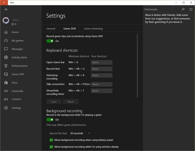 screen recorder in win10-Go to the Xbox app