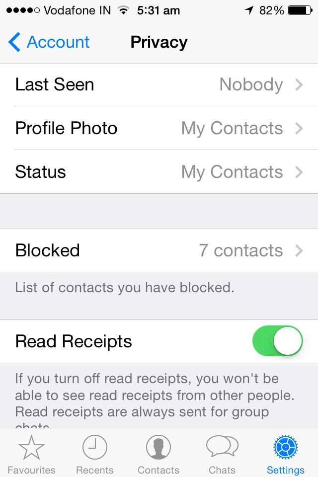 إخفاء مؤشرات قراءة رسائل واتس آب على أجهزة آي فون