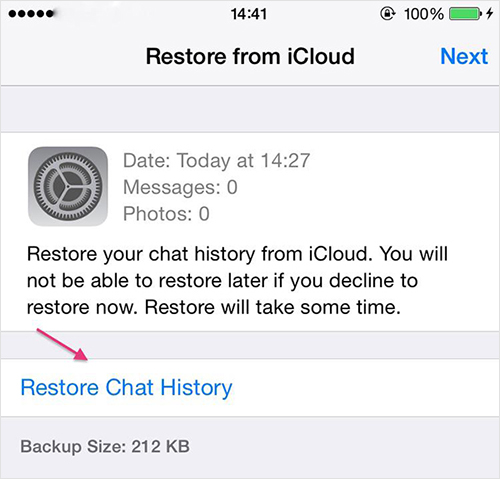 come fare il ripristino del backup di whatsapp su iphone