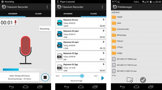 Titanium Recorder app for Android