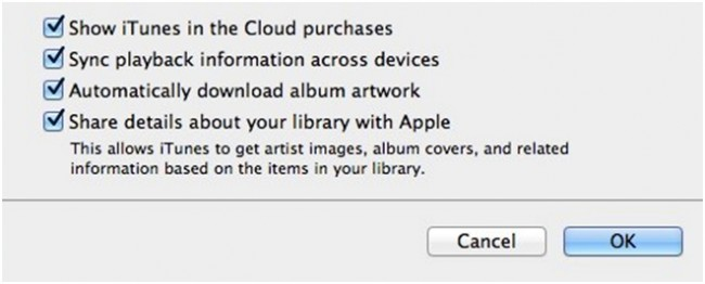 Show iTunes in the Cloud purchases