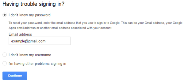 reset Gmail password on Android-create an account