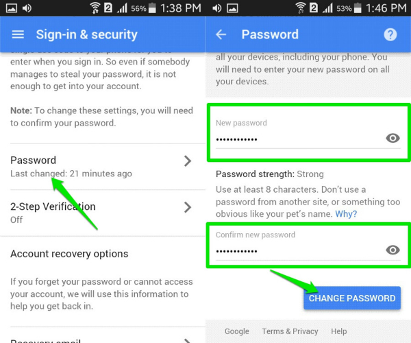 reset gmail password on android find the password option