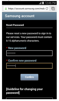 samsung account password reset