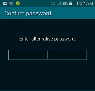 Samsung fingerprint lock-type in alternative password