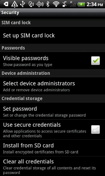 disable lock screen android