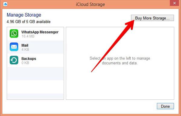 buy storage to change icloud plan