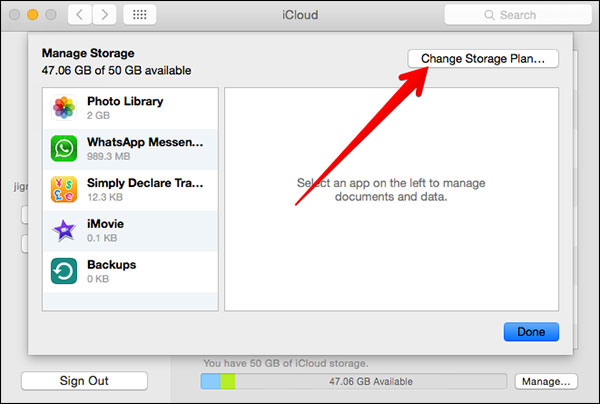 Étapes to downgrade iCloud storage
