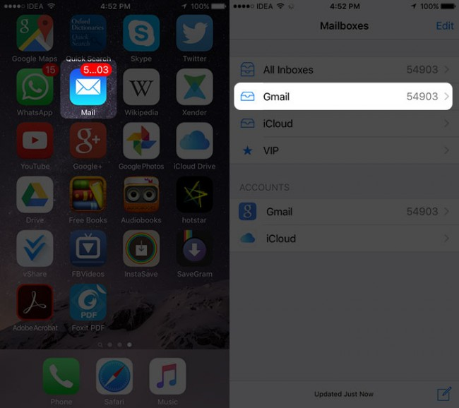 open the app to save email attachment to icloud drive