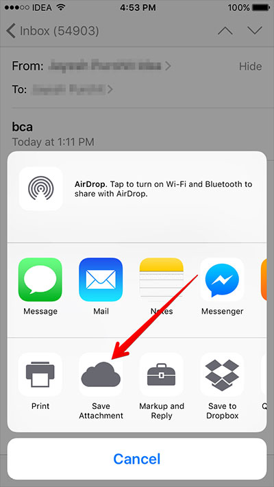 start to save email attachment to icloud drive