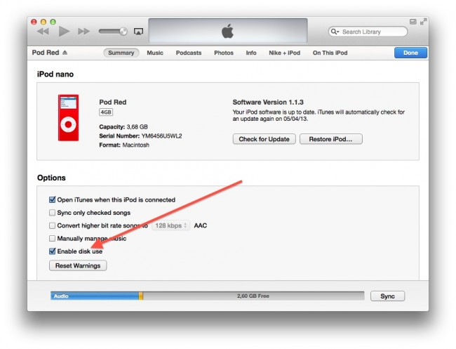 Transfer iPod Music to Another MP3 Player with iTunes-Enable Disk Mode