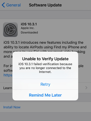iOS 9.3 Update Fails to Work