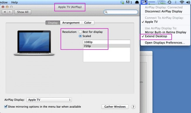 airplay iphone naar mac - pas de scherminstellingen aan