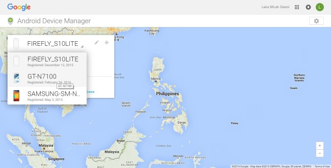 android Device Manager list of devices