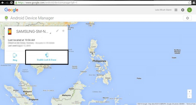 android Device Manager device located